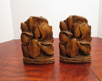 Vintage Syroco Wood Iris Bookends