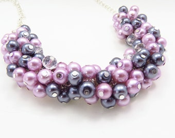 Lilac Cluster Necklace, Lilac Grey Cluster Necklace, Chunky Pearl Necklace, Statement Chunky Cluster Necklace