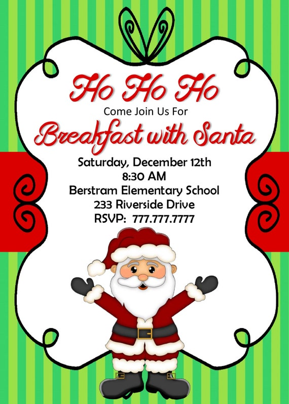 DIY PRINTABLE Breakfast With Santa Invitation Christmas