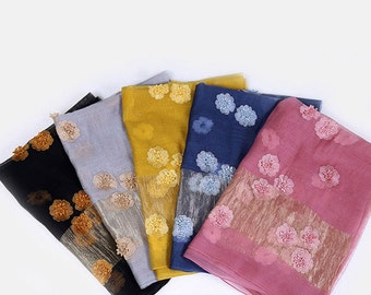 Silk Embroidery Scarf - Blue Silk Scarf - Pink Mulberry Silk Chiffon Scarf - Yellow Silk Embroidery Scarf - AS2016-5