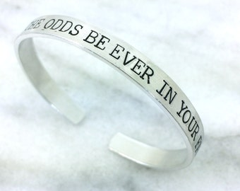 may the odds be ever in your favor bracelet, gift under 20, aluminum bracelet, anniversary jewelry, hunger games jewelry