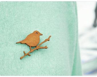 Bird brooch, wooden brooch, bird on a twig, thrush brooch, lasercut, thrush brooch