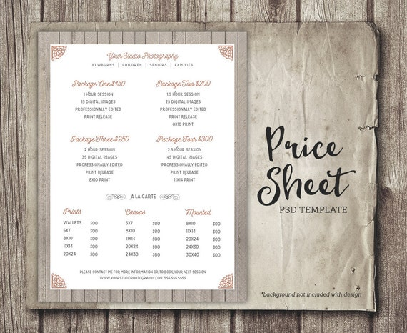 Price Sheet Photography Template   Photography Price List   Marketing    Photoshop Template Photography Packages   INSTANT DOWNLOAD From  StudioTwentyNine On ...  Price Sheet Template