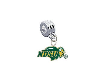 North Dakota State Bison European Charm for Bracelet, Necklace, DIY Jewelry