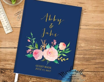 Wedding Guest Book, Gold and Navy Guest Book Wedding Gift Personalized Guestbook Wedding Journal Bride Gift Wedding Keepsake Blue Guest Book