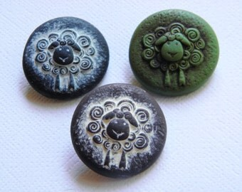 4 Sheep Buttons-Choose from 3 Earth Tone Colors