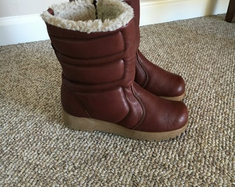 Vintage 70's Dexter Leather Boots/Shealing Boots/Moon puffer Boots/Grunge Boots/Snow Winter warm Boots/ Size 6 -6.5 - 7