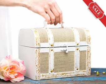 White Wedding Card Box Shabby Chic Decor Vintage Inspired Hand Painted Keepsake Box