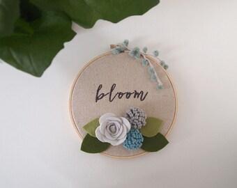 Bloom Hoop Art, Embroidered hoop art