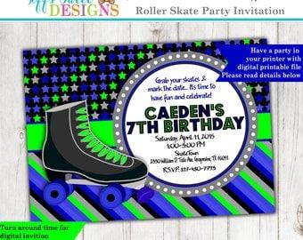 Boys Roller Skate Birthday Party - Roller Skate Invitation - Roller Skate Invite - Printable