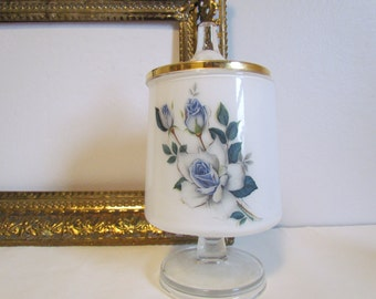 Vintage Apothecary Jar Cotton Ball Q Tip Jar Blue Roses Milk Glass Frosted Blue Bathroom