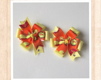 Lorax Bow, The Lorax Hairbow, Orang Bow, Yellow Bow, Disney Bow
