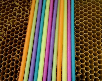 Long and Thin Rainbow Birthday Candles 12 (6pair), Beeswax Birthday Candles, Hand Dipped Birthday Candles, Coloured Tapers, Coloured Beeswax