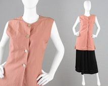 Vintage 90s LAURA ASHLEY Raw Silk & Linen Jacket Peach Tunic Top Sleeveless Vest Mother of Pearl Buttons Simple and Chic Minimalist Jacket