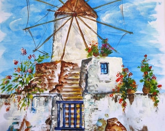 Acrylic Painting Art,Original painting, Wall art, Glances from the Greek islands, Landscape Art,Τhe mill of our courtyard.