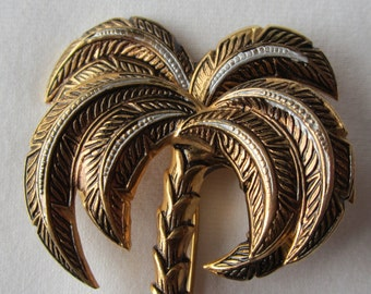 Damascene Palm Tree Brooch Pin - Made in Spain