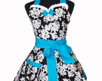 Retro Sweetheart Apron in Damask Print with Ocean Blue Trim