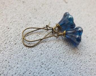 Flower Earrings Small Blue Earrings Woodland Earrings