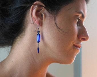 Cobalt glass, dangle earrings