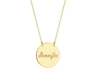 "Name Disc necklace - 1"" Personalize Gold Engraved necklace gold plated 18k on .925 silver"