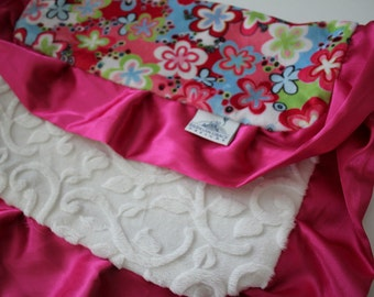 Happy Talk Pink and Lime Floral with White embossed Vine Minky LOVIE Blanket, Satin Trim, Girls, Baby, Nursery, Crib Bedding