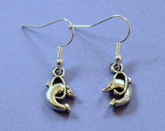 Silver Dolphin Earrings,Silver Earrings,Sealife Earrings,Dolphin Jewelllery,Tibetan Silver,Bottlenose Dolphin,Secret Santa,Stocking Filler