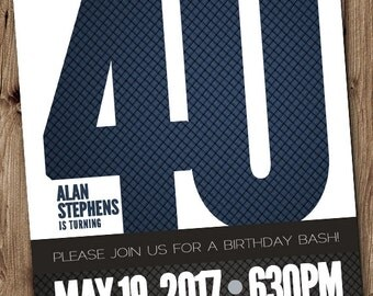 40th BIRTHDAY Party Invitation for Man, Male - Blue, Silver, Gray, Black 5x7 Printable 40th Birthday Invitation DIY