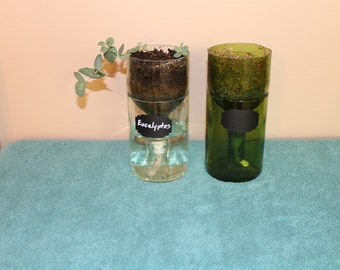 Recycled Wine Bottle Self Watering Planter Kit-Clear or Green