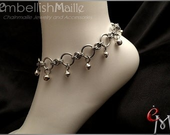 "Chainmaille Anklets w/ bells Fantastic for sharing with that special sister or best friend. Lead/Nickel Free. Pair (2) 8.5"" - 10"""