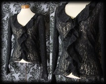 Gothic Black Sheer Lace Frilled MOROSE Fitted Blouse 10 12 Victorian Vintage