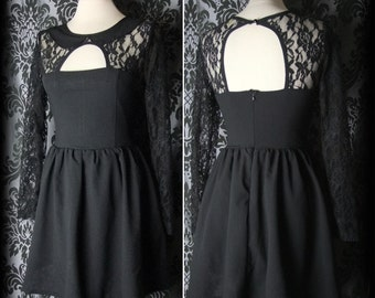 Goth Black Lace Peter Pan Collar FIENDISH Open Back Dress 8 10 Vintage Victorian