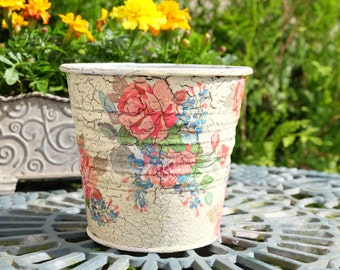 Tin flower pot: COLORFUL ROSES