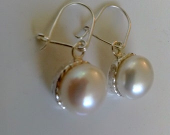 white pearls earrings handmade with braided sterling  silver and fresh water  pearls using as  bridal jewelry,  dangle, bridesmaid gift