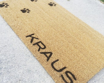 Welcome Mat / Doormat With Personalized Custom Last name or custom word choice and Pawprints -  made from natural coir