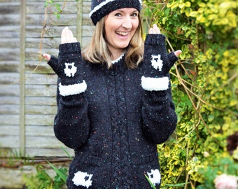 Ladies Knitting Pattern with Sheep,  Knitting Pattern in 10 ply Yarn, Knitting Pattern for ladies hat and gloves, Jumper Knitting Pattern