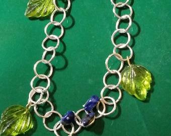 Sodalite and Peridot sterling silver bracelet.