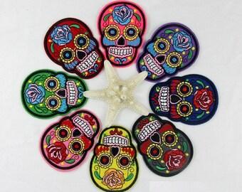 Wholesale LOT  8PCS    sugar  skull iron on Applique Patches   5x7cm