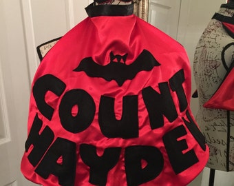 Boys count bat Halloween cape