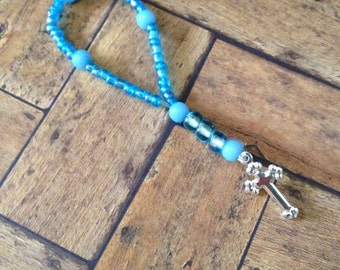 Miniature Rosary Beads - Doll Size - Blue Beads, Silver Cross