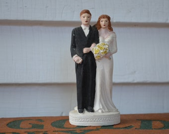 Vintage Wedding Couple * Plaster * Red Hair * Cake Topper *