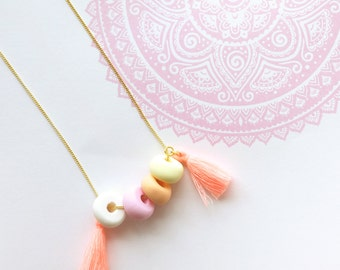 Peaches & Cream Clay Bead Tassel Gold Chain Necklace