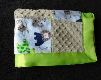 Patchwork Baby Security Blanket in shades of blue, grey and green