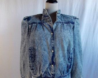 VTG Acid Wash Denim Jacket size M