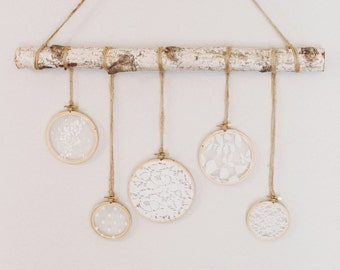 wall hanging lace and birch, lace baby decor, vintage inspired lace wall hanging, nursery