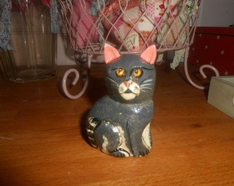 cat ornament papermache figurine shabby chic country cottage collectible pet gift for her