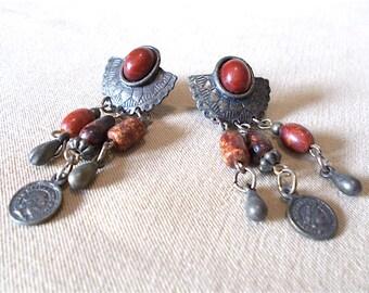 Vintage 80's Bronze Half Concho, Rust Stones & Mini Coin Post Earrings, Bold Southwestern Native American Inspired Striking Ladies Gift Idea