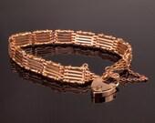 Antique Rose Gold Bracelet Edwardian Gate Bracelet 9k Gold 18gms