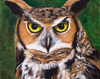 Great Horned Owl Painting, Original Oil Painting, Animal