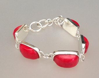Sterling Silver Red Coral Bracelet