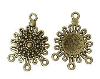 6 Antiqued Bronze Sun Chandeliers/Connectors